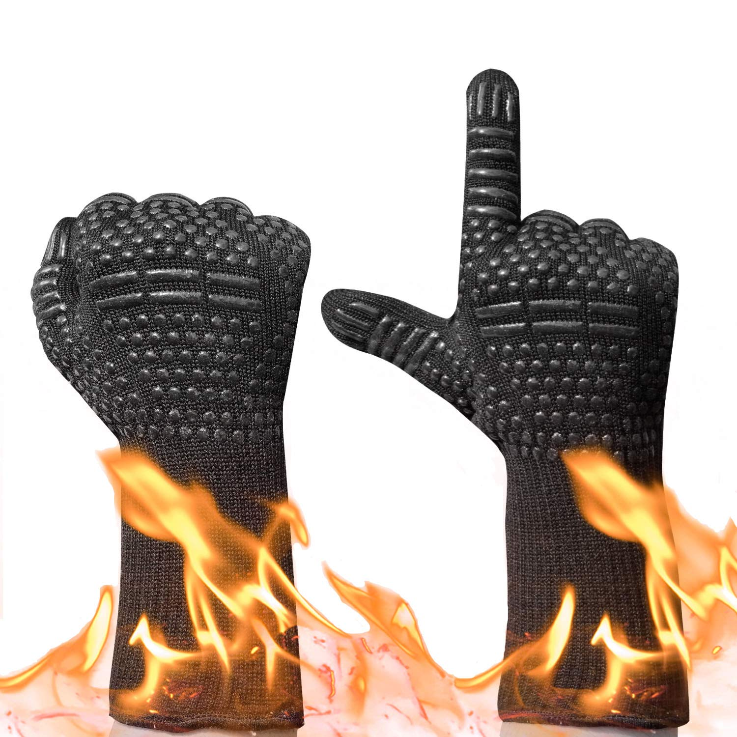 BBQ Grilling Gloves,932°F Heat Resistant Oven Mitts Comfortable Wearing Gloves, Barbecue Gloves for Men Women, 13.8(inch) Long for Extra Forearm Protection, 1 Pair (Black)   Runwinker