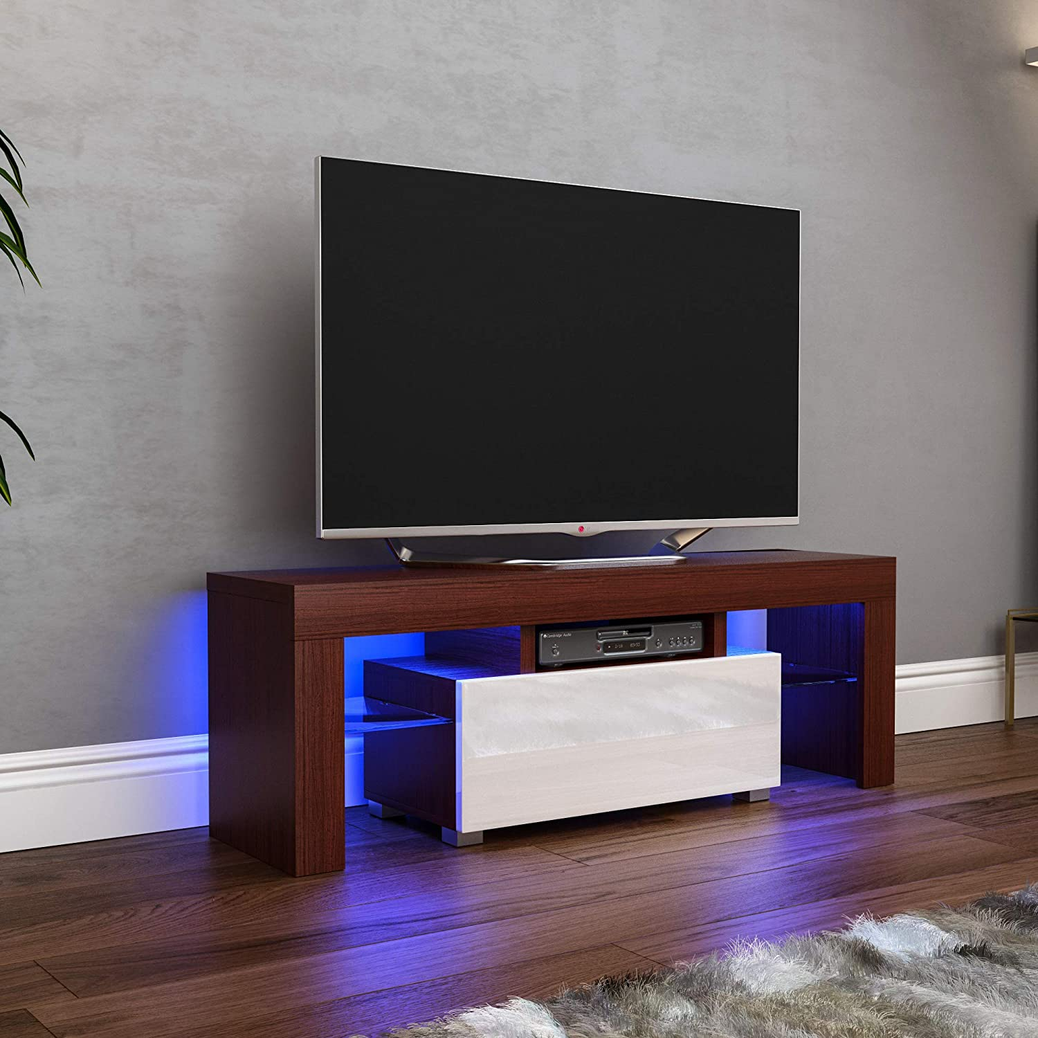 White TV Unit Cabinet Stand LED Modern Furniture MDF Gloss Matte Entertainment