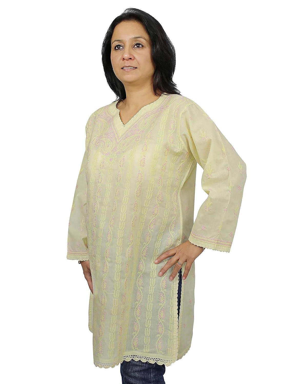 Damen-Oberteile Zitrone Baumwolle Ärmelloses Shirt Chikan Stickerei