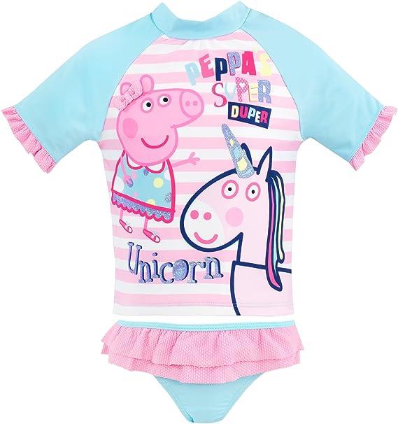 Peppa Pig Bañador de Dos Piezas para niña Peppa a Unicornio Rosa 3 ...