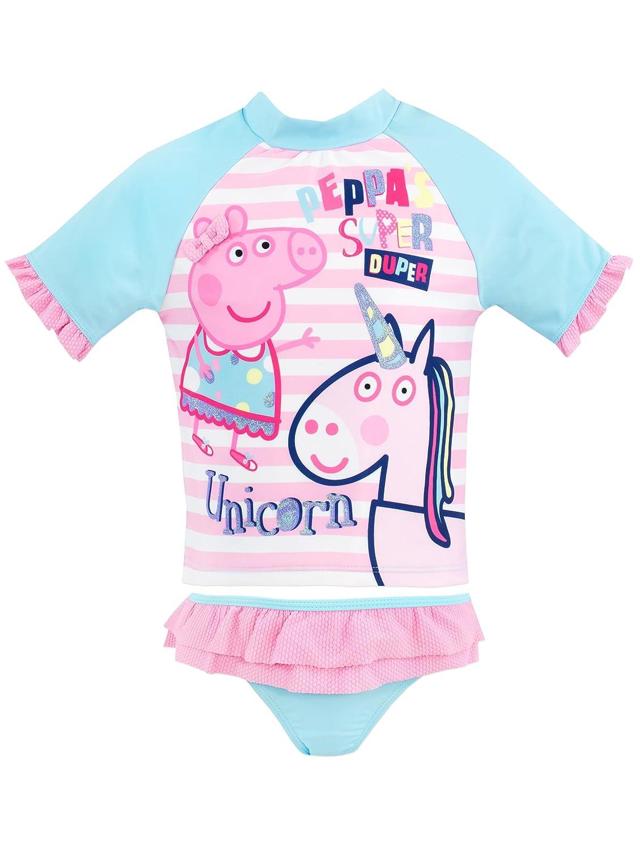Peppa Pig Girls' Peppa & Unicorn Two Piece Swim Set
