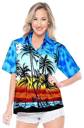 LA LEELA Hawaiano de Las Mujeres Manga Corta Camisa Aloha: Amazon.es: Ropa y accesorios