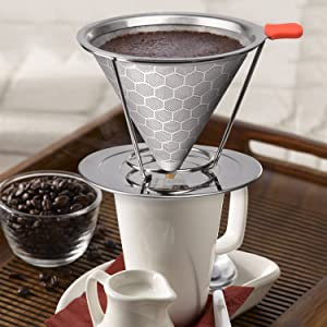 E-PRANCE Honeycombed Stainless Steel Coffee Filter, Reusable Pour Over Coffee Filter Cone Coffee Dripper with Removable Cup Stand and Bonus Brush(2nd Generation) (Color: Silver, Tamaño: 2nd Generation)