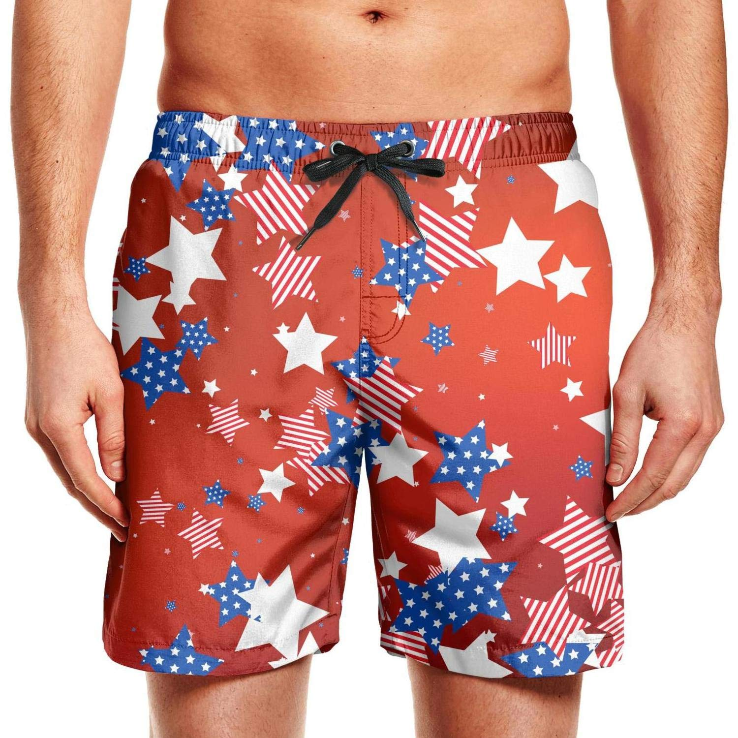 Quick-Dry Mens Beach Shorts Colors Stars of American Flag Swim Trunks with Adjustable Drawstring