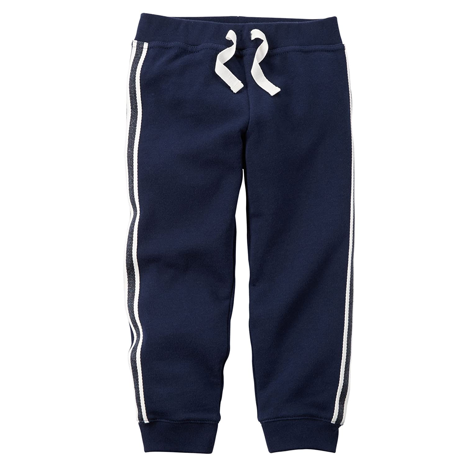 Carter's Big Girls' French Terry Sparkle Stripe Pants (5 Kids, Navy)