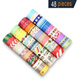 Washi Masking Tape, 48 Rolls Decorative Craft Tape Sets for DIY & Gift Wrapping with Pretty Patterns in Different Style