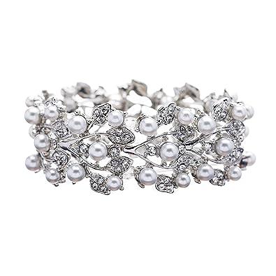 ACCESSORIESFOREVER Bridal Wedding Jewelry Crystal Rhinestone Pearl Leaf Stretch Bracelet Silver