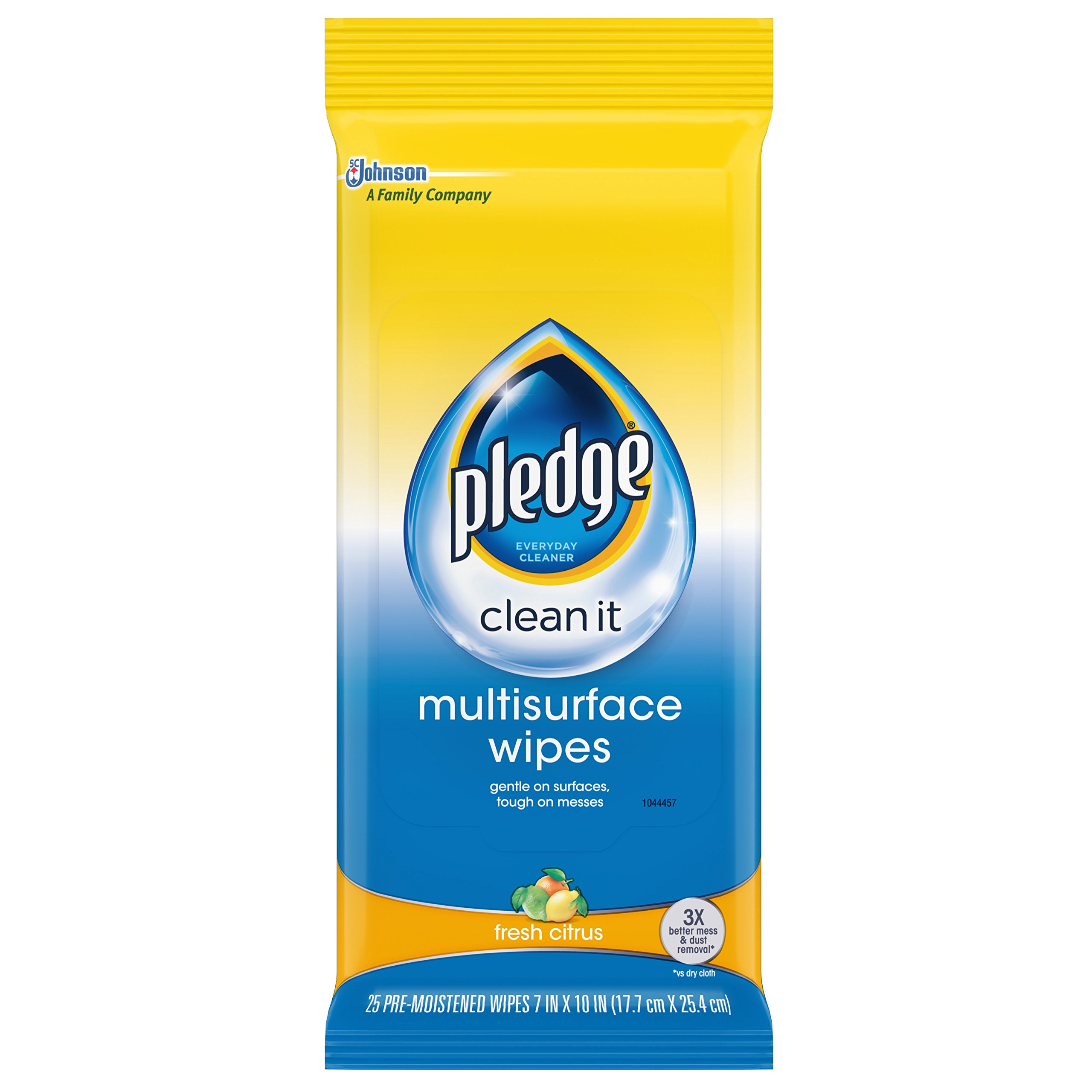 Pledge Multi Surface Everyday Wipes Fresh Citrus, 25-Count (Pack of 3)