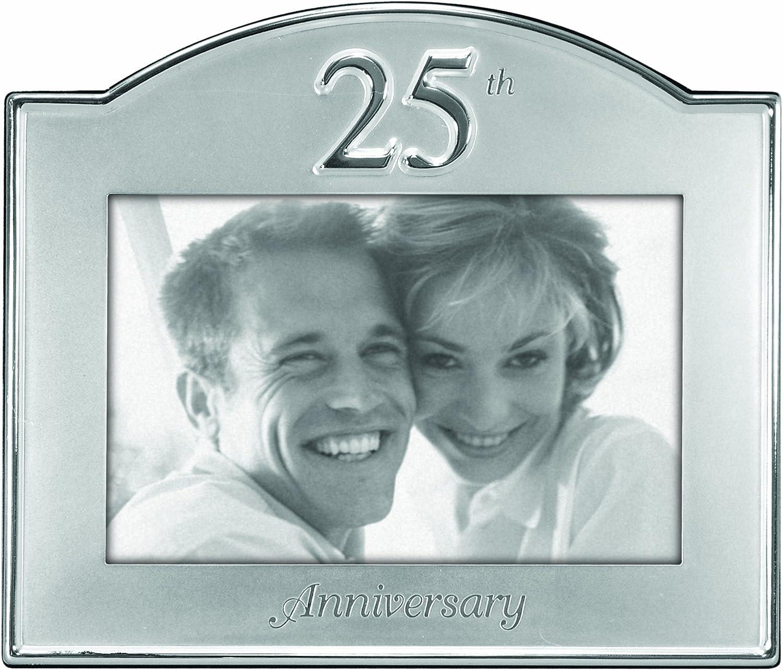 Malden International Designs 25th Anniversary Metal Picture Frame, 4x6, Silver