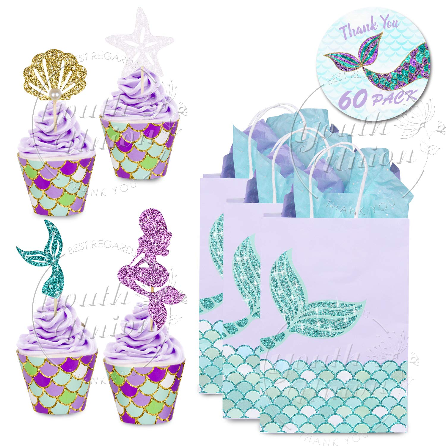 YOUTH UNION 60 Pack Mermaid Cupcake Toppers & Wrappers & Mermaid Gift Bags for Baby Shower Birthday Party Supplies Cake Decoration