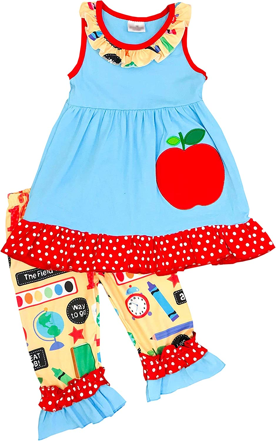 d3781fe65e Amazon.com  Angeline Boutique Girls Back to School School Day Capri Set   Clothing