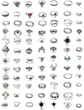 LOYALLOOK 84-130Pcs Midi Ring Bohemian Knuckle Ring Sets Fashion Finger Vintage Silver Stackable Rings for Women Knuckle…