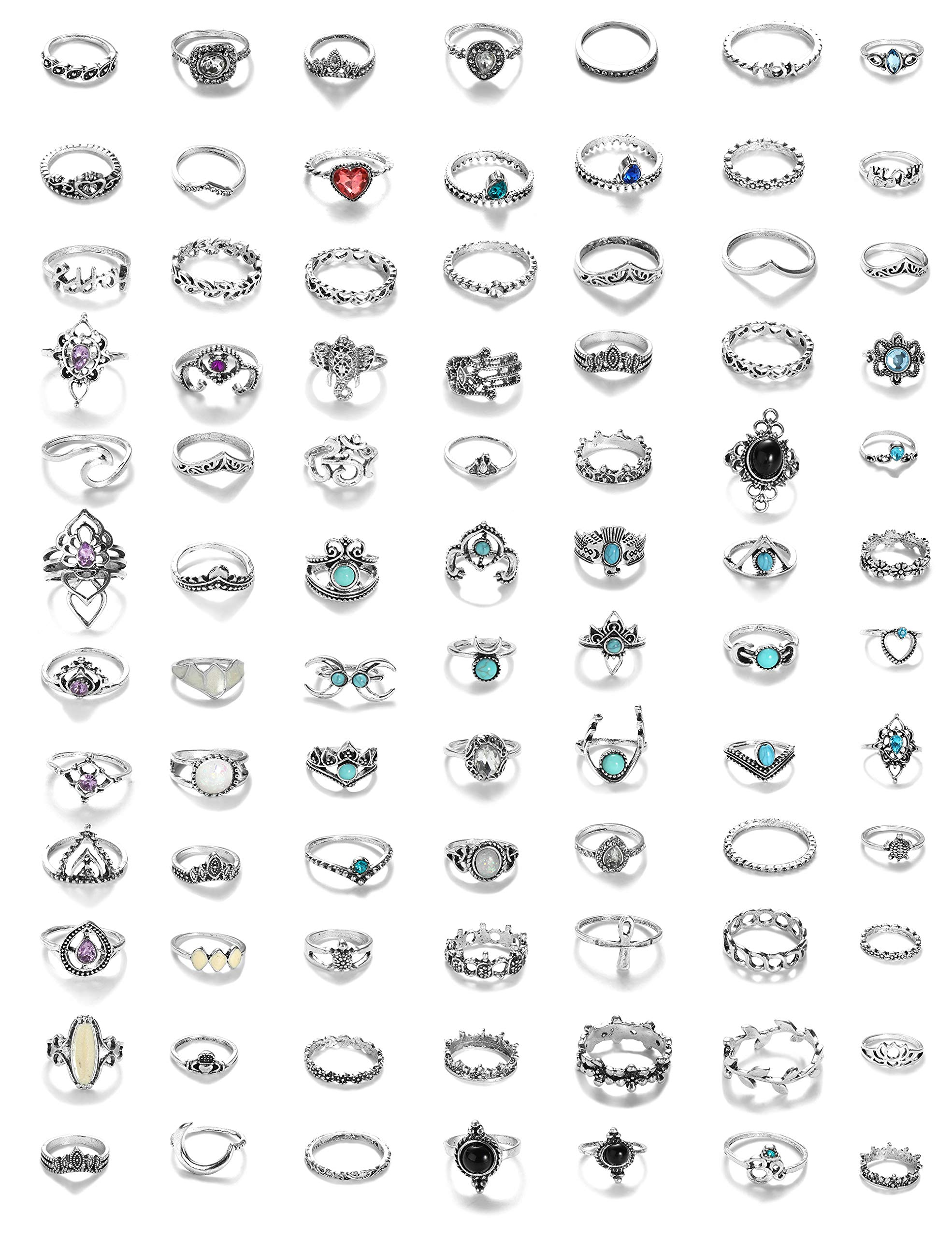 LOYALLOOK 84Pcs Midi Ring Bohemian Knuckle Ring Sets Fashion Finger Vintage Silver Stackable Rings for Women Girls Knuckle Midi Rings