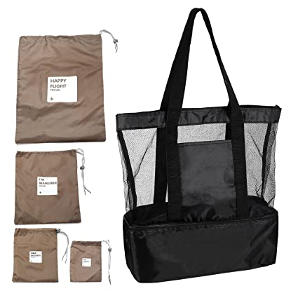 f3dafb88531b GAINWELL 2 in 1 Mesh Beach Tote Black Bag with Cooler, Come with 4 Ditty Bag