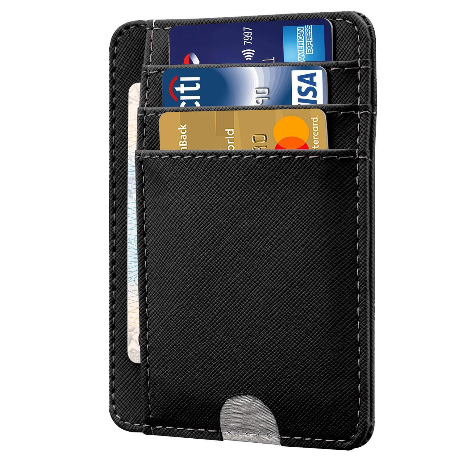 HOTCOOL Front Pocket Minimalist Leather With RFID Card Holder Wallet, Cross Navy Blue