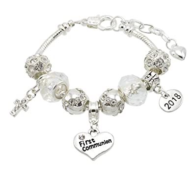 jewellery hut first holy communion sparkle bracelet with communion card and gift box 5 message options first communion amazoncouk jewellery