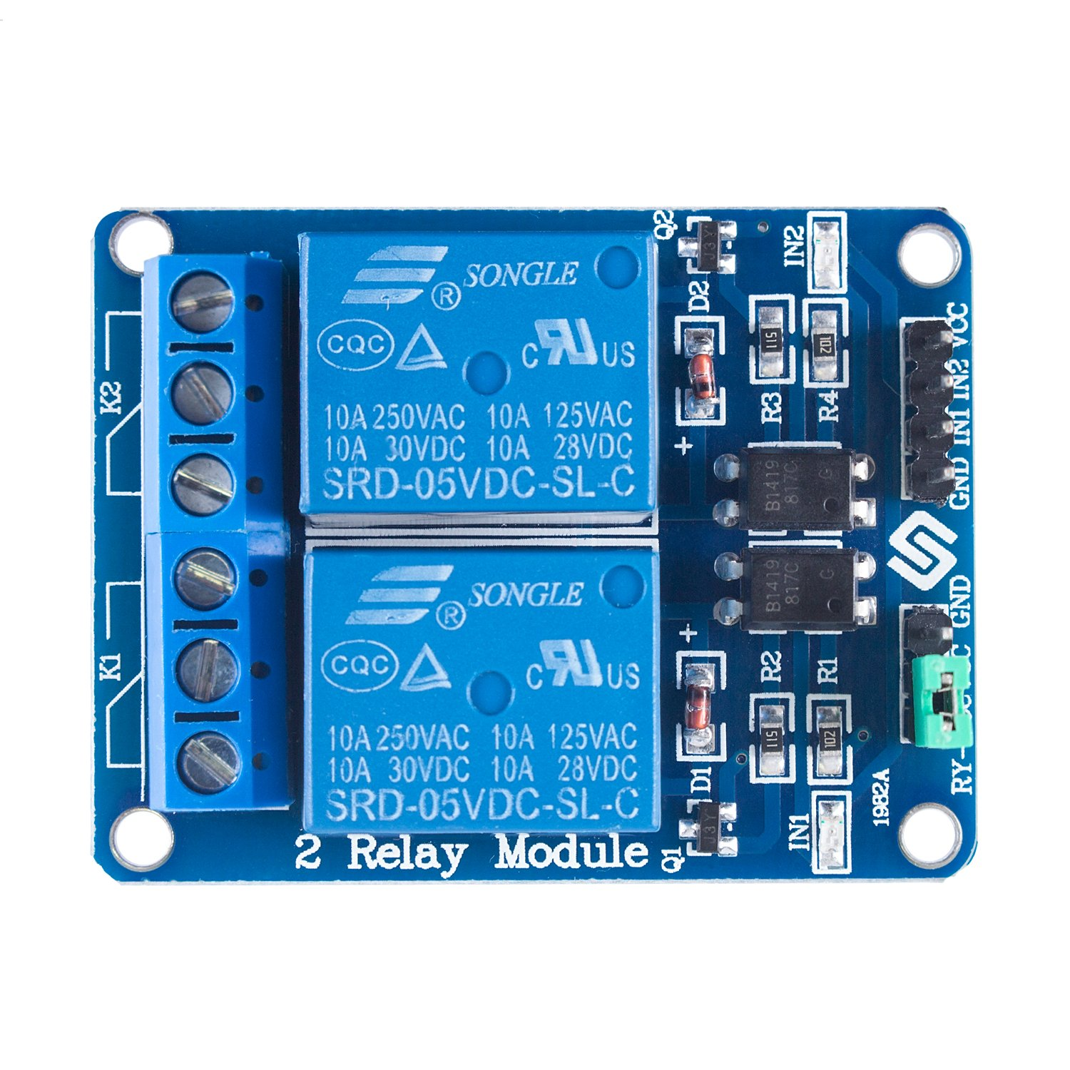 Sunfounder 2 Channel Dc 5v Relay Module With Optocoupler Power Low Level Trigger Expansion Board For Arduino Uno R3 Mega 2560 1280 Dsp Arm Pic Avr