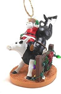 Santa Riding Bull Orn by Cape Shore