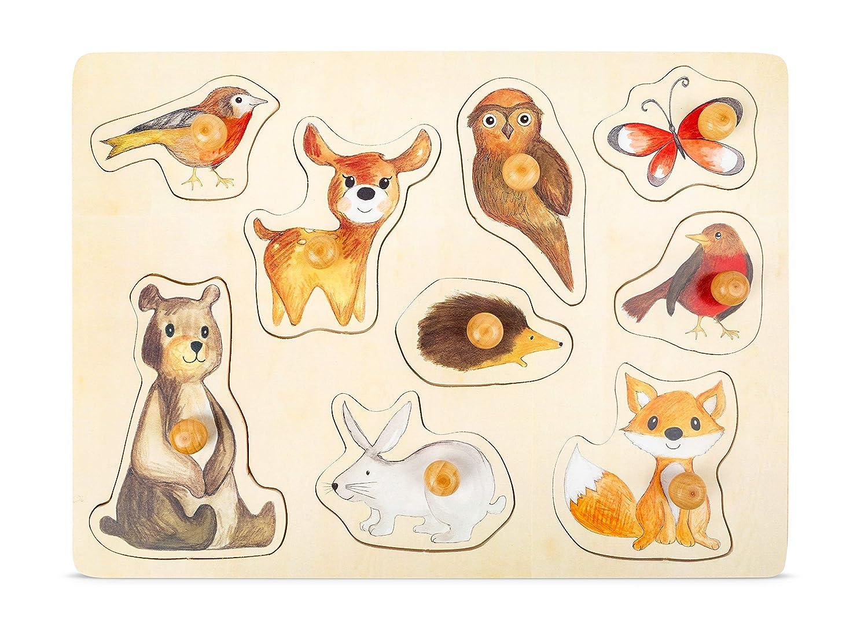 Mehrfarbig small foot 11499 Setzpuzzle Waldtiere aus Holz mit niedlichen Tier-Motiven ab 12 Monaten Spielzeug
