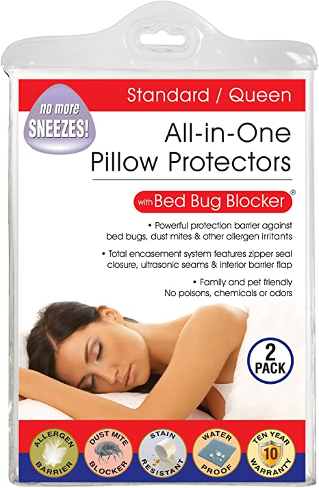 Amazon Com Bed Bug Blocker All In One Quiet Water Resistant Zip Up Pillow Protectors To Help Protect Against Bugs Dust Mites And Allergens Standard Queen 2 Pack Home Kitchen