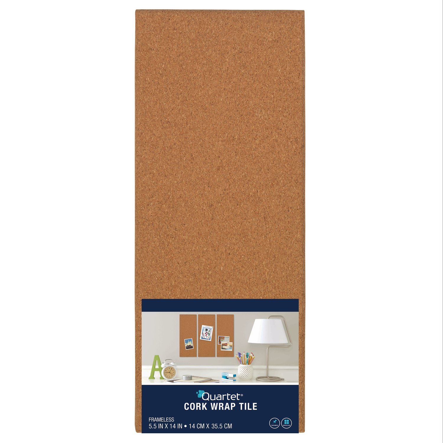 Quartet Modular Natural Frameless Bulletin Board, 5.5 x 14 Inches, Cork (48110)
