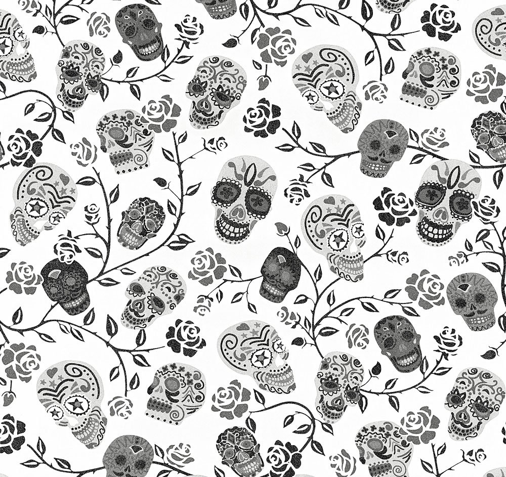 Ps International Skulls Rose Pattern Wallpaper Glitter Mexican Motif Metallic White 13383 20