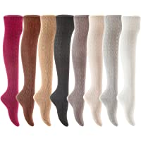 Lian LifeStyle Women's 4 Pairs Over Knee High Thigh-High Cotton Socks LLS1024 Size 6-9