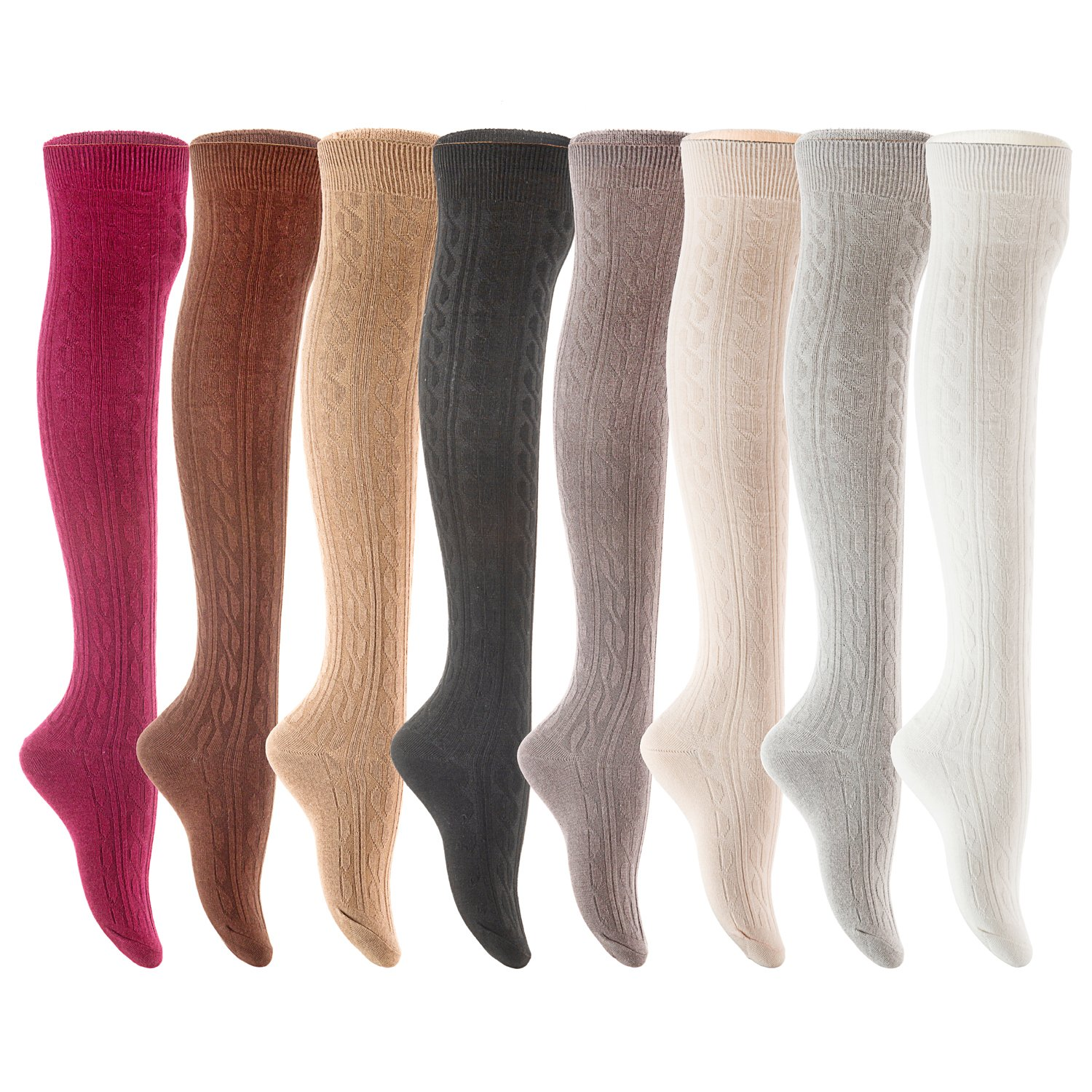 Assorted AATMart Women's 4 Pairs Over KneeHigh Thigh High Cotton Socks Size 69