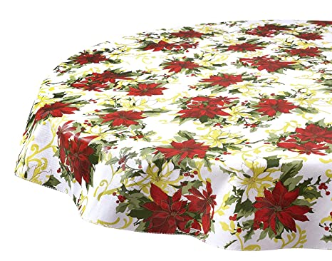 Christmas Tablecloths.Round Tablecloths Christmas Tablecloths Vinyl Table Cloth Table Linens Poinsettia Scroll 60 Inch