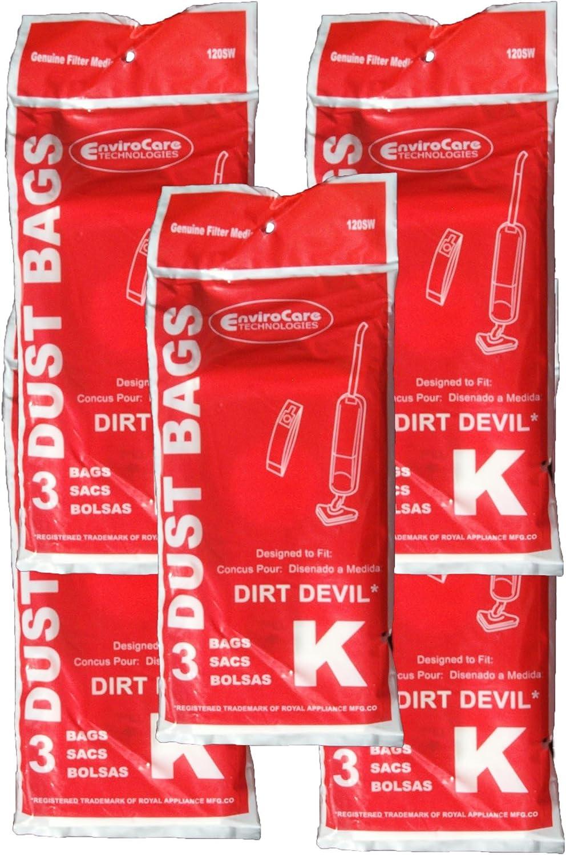 EnviroCare Replacement Vacuum Bags for Royal Dirt Devil Stick Vac Type K 15 Bags
