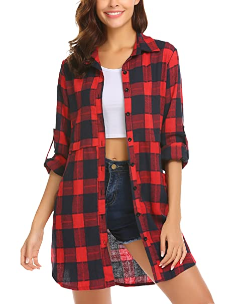 99ec5f45c6a HOTOUCH Womens Flannel Plaid Shirts Roll Up Long Sleeve Pockets Mid-Long  Casual Boyfriend Shirts