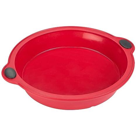 LEVIVO Molde de Horno de Silicona para Tart, Rojo, 20 cm