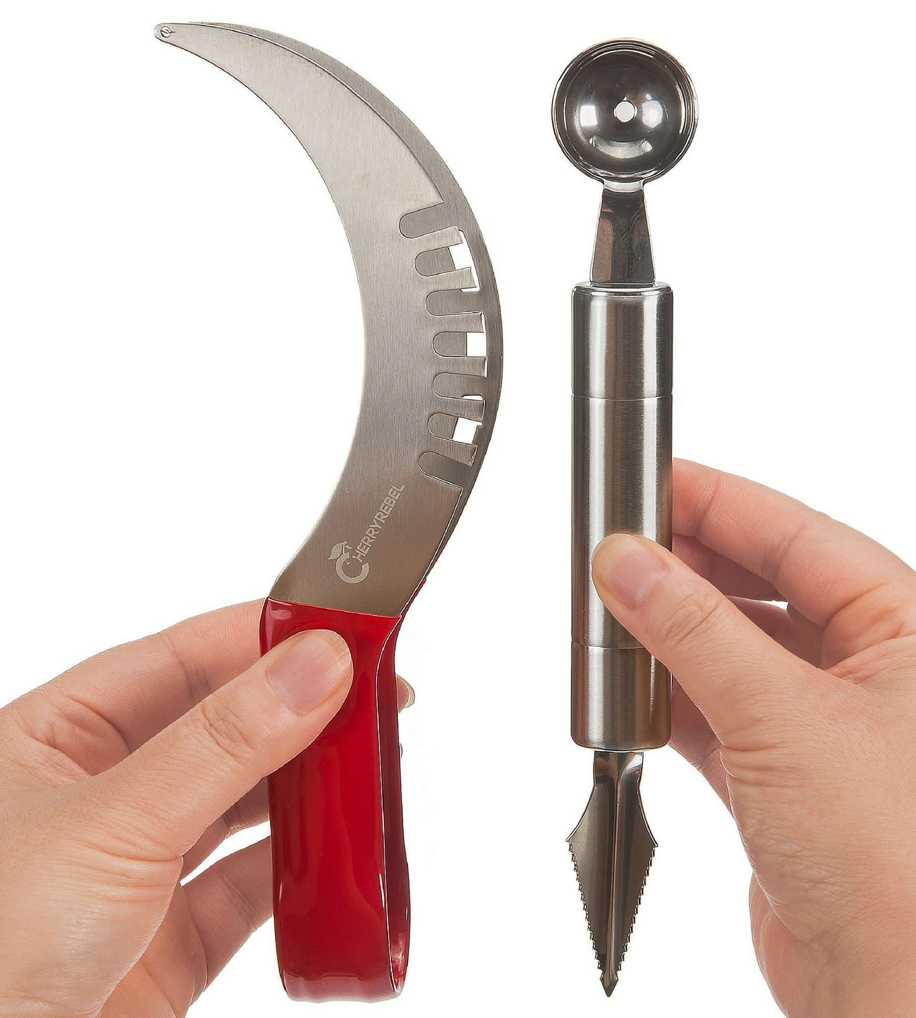 CHERRY REBEL Watermelon Slicer and Server. The Best Melon Cutter Corer Knife & Tongs in 1 Utensil + Melon Baller Scoop and Carver. Non-Slip Handle. 304 Stainless Steel. Lifetime Replacement Warranty.