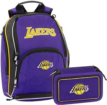 NBA Los Angeles Lakers Schoolpack mochila escolar organizada más estuche 3 cremalleras completo de papelería: Amazon.es: Equipaje