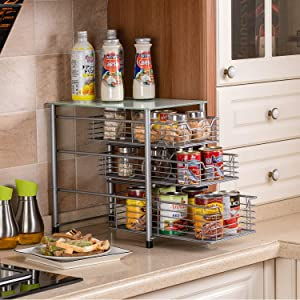Flagship 3 Tier Sliding Backet Organizer Drawer with Crystal Tempered Glass Mesh Shelves for Spice Rack Countertop Kitchen Under Sink Drawer Bathroom Office (Silver)