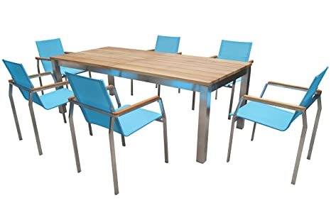 Tavoli Allungabili E Sedie In Coordinato.Outflexx Esstischgruppe Per 6 Persone Turchese Sedie Da Giardino