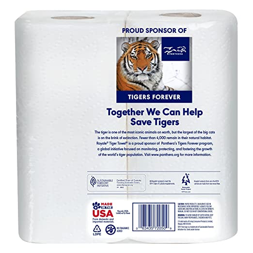Amazon.com: Royale Tiger Paper Towels Choose-A-Size 2 Ply, Mega Rolls, 2 Pack: Health & Personal Care