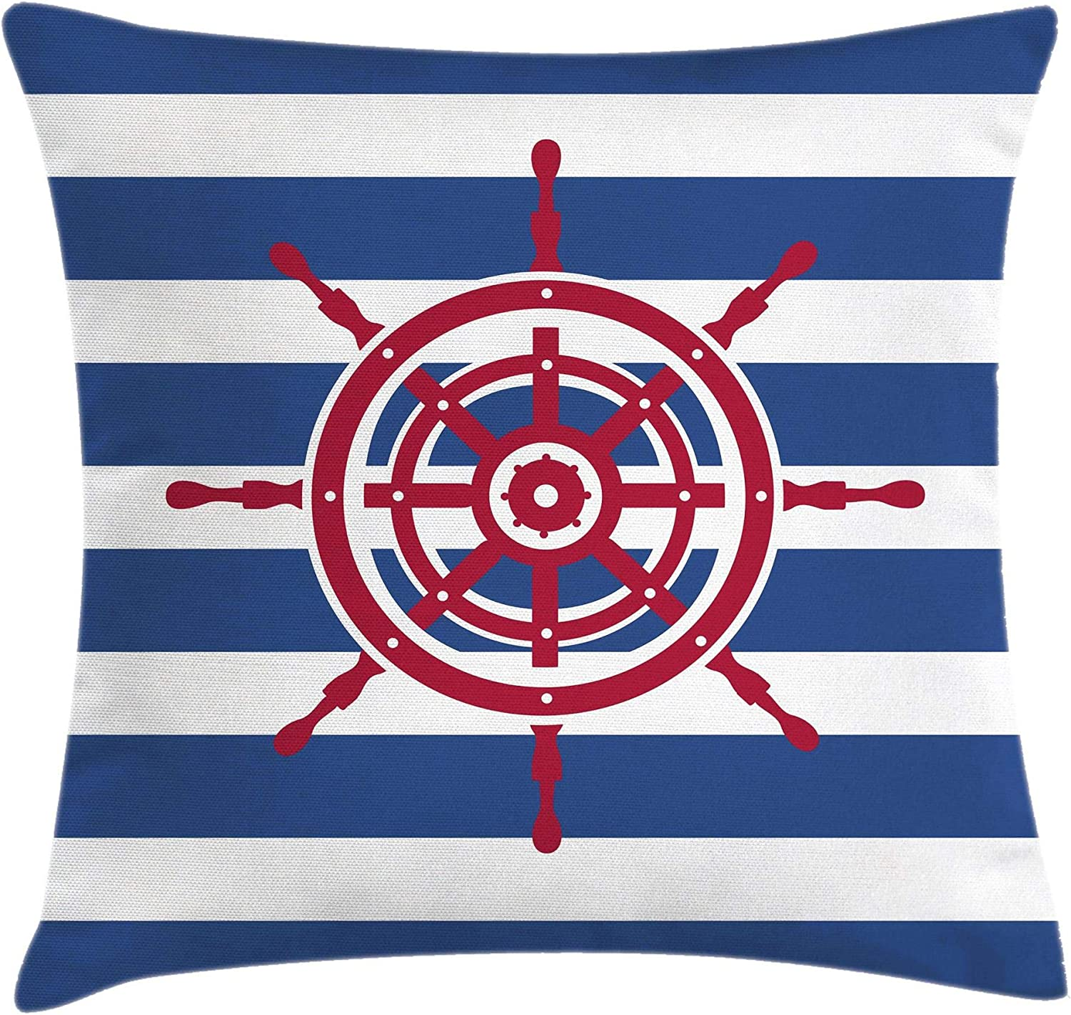 Amazon Com Ambesonne Ships Wheel Throw Pillow Cushion Cover Illustration Of Ship Steering Wheel On A Stripped Background Artwok Decorative Square Accent Pillow Case 16 X 16 Navy Blue Home Kitchen