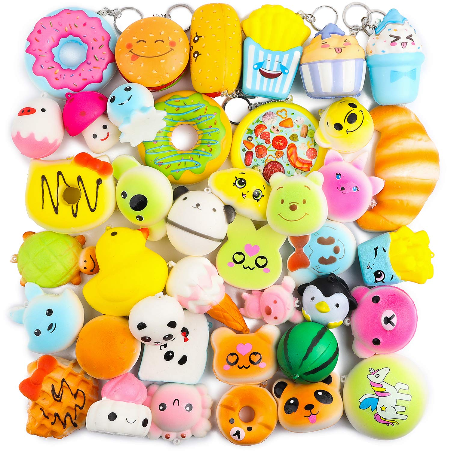 BeYumi Random 40 PCS Mini Squishy Toys 32 Kawaii Food Cream Scented Slow Rising Squishy 8 Colorful Food Squishy Set Soft Simulation Squishy Toy for Kids Adults Party Favor