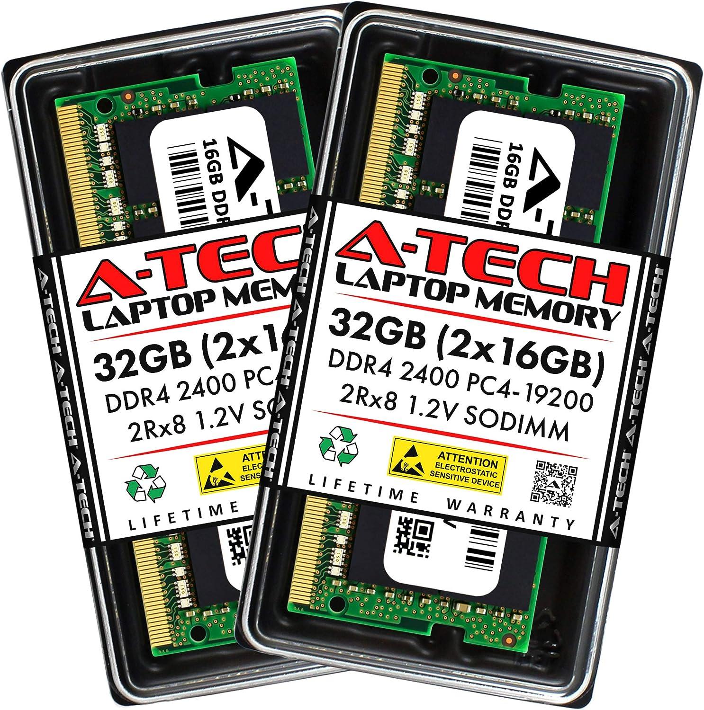 A-Tech 32GB (2x16GB) DDR4 2400MHz SODIMM PC4-19200 2Rx8 Dual Rank 260-Pin CL17 1.2V Non-ECC Unbuffered Notebook Laptop RAM Memory Upgrade Kit