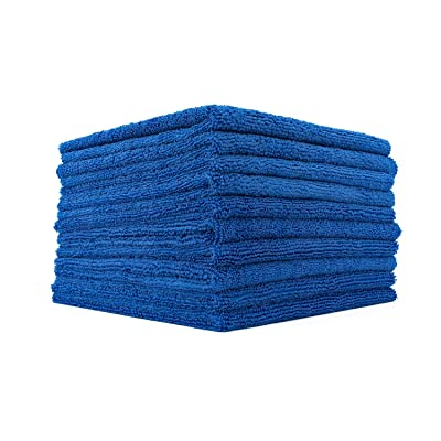 The Rag Company (10-Pack) 16 in. x 16 in. Professional EDGELESS 365 GSM Premium 70/30 Blend Microfiber POLISHING, Wax Removal and AUTO Detailing Towels (16x16, Royal Blue): Automotive