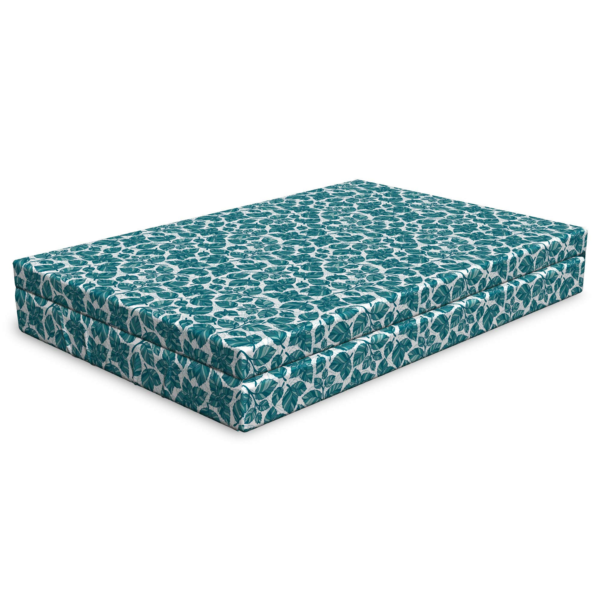 Lunarable Teal and White Dog Bed, Natural Peppermint Leaves Illustration Menthol Medical Botanical Doodle, Durable Washable Mat with Decorative Fabric Cover, 48'' x 32'' x 6'', Teal and White