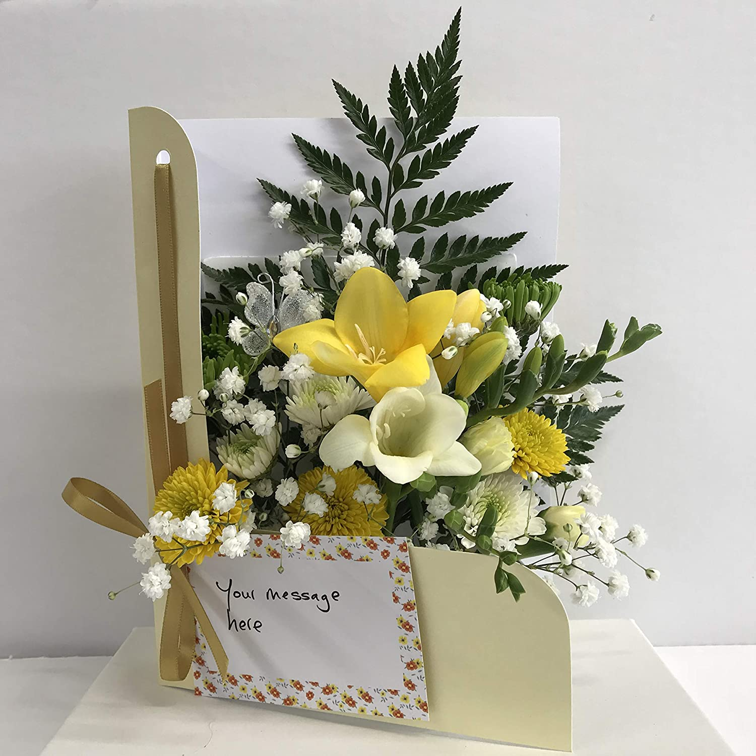 Fresh Flowers delivered -Spring Special Flower Card- Flowers Delivered by Post -CONVENIENT Fits THROUGH LETTERBOX - Birthday - Thank You Gift- Handmade Direct from our own Glasshouse Blooms of Guernsey