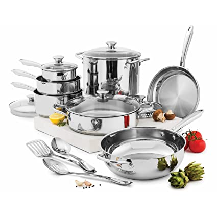 Amazon.com: Wolfgang Puck 15-Piece Cookware Set, Silver: Kitchen ...