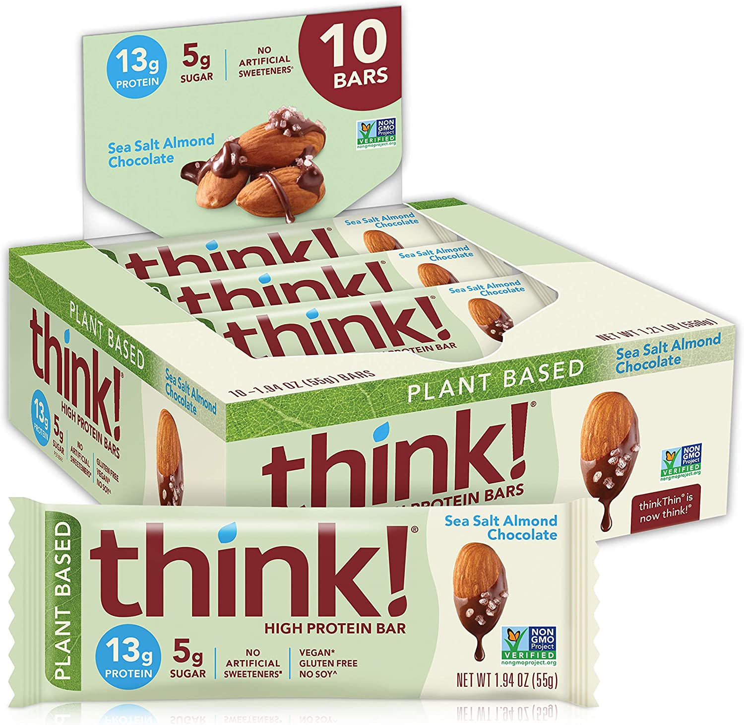 think! , Vegan/Plant Based High Protein Bars No Artificial Sweeteners, Sea Salt Almond Chocolate 10 Count