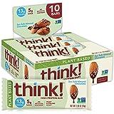Think - Barras Proteicas Sabor Almendra y Sal de Mar 550g (10 piezas de 55g c/u)