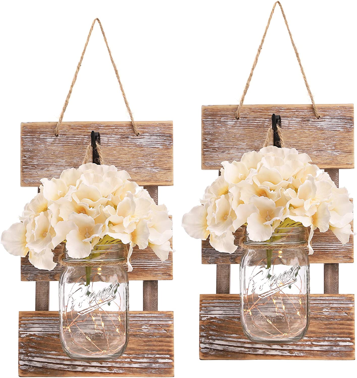 HOMKO Mason Jar Wall Decor with LED Fairy Lights and Flowers - Farmhouse Home Decor (Set of 2)