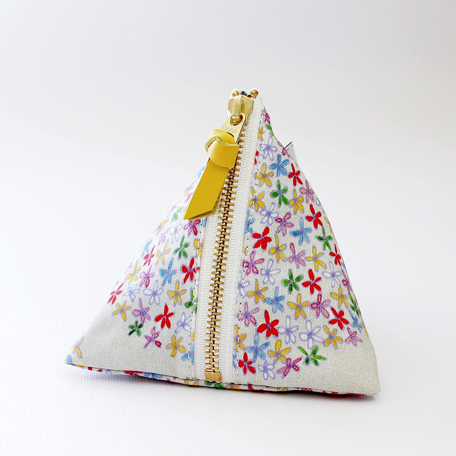 Floral triangle zipper pouch, Emma
