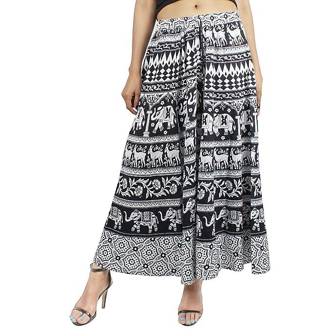 527b2705c Suman Enterprises Indian Women Ethnic Floral Print Cotton Long Skirt Hippie  Gypsy Big Flare Skirt (