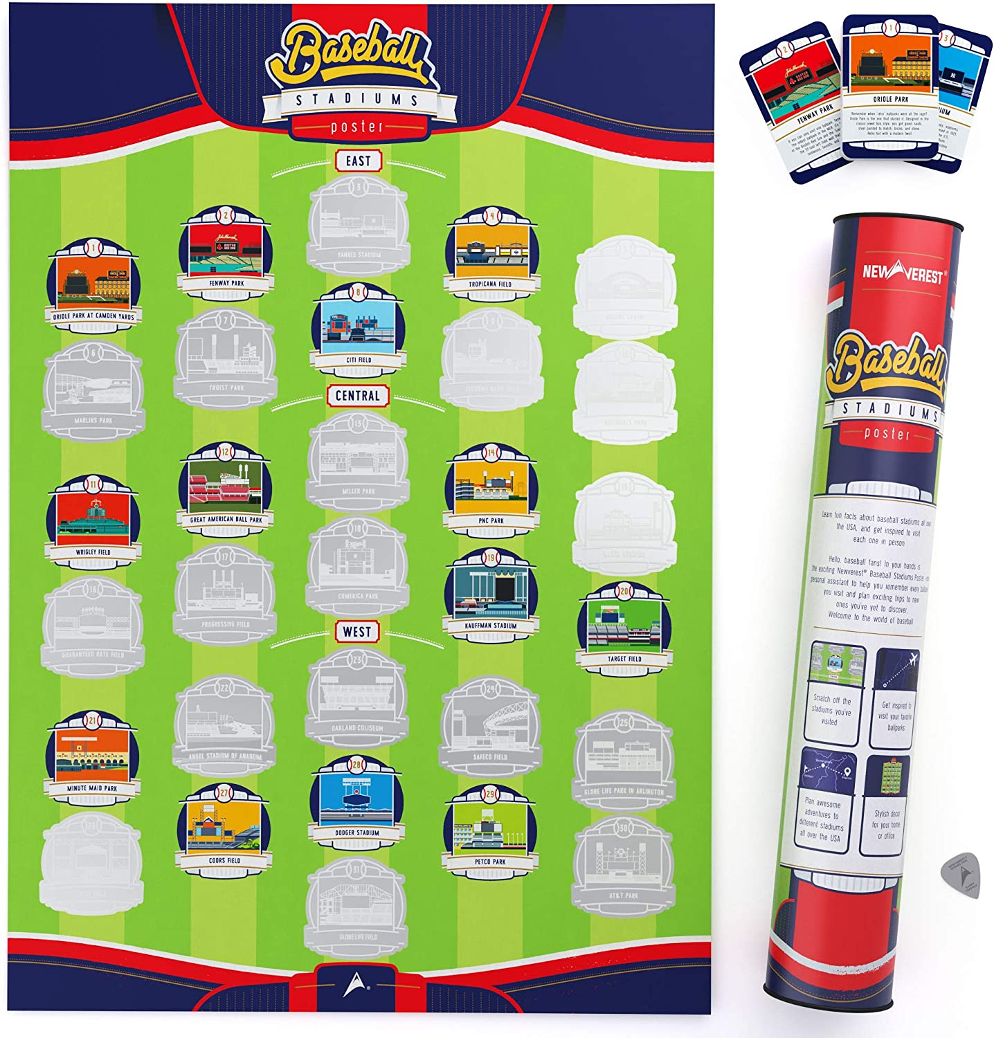 Newverest Major League Ballpark Scratch-Off Poster, Baseball Stadium Wall Decor Map, Pop Chart Fits 17 x 24 inches Frames - Includes Scratch Tool, 31 Fun Cards, Gift Ready for Baseball Lovers & Fans